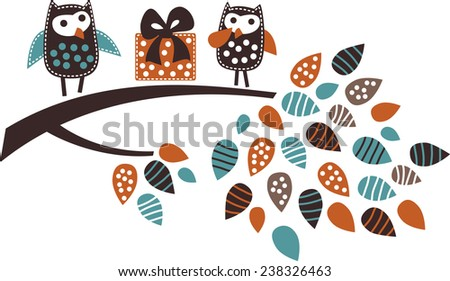 Birds couple present gift Isolated objects on the empty white background. Color vector illustration. - stock vector