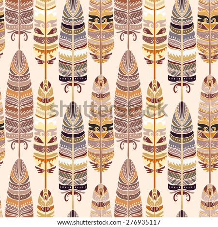 Birds feathers boho seamless pattern. Tribal art ethnic repeating background texture, retro style, coffee colors. Clothing design, wallpaper, wrapping - stock vector