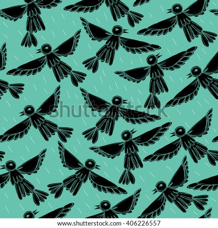 Birds fly in sky. Vector illustration with birds. Seamless pattern with birds on blue background. - stock vector