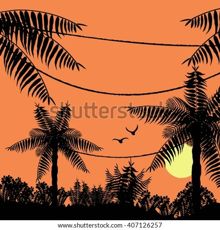 Birds fly in the evening on the background of the sunset  in the tropical jungle. Vector. Sunset in the jungle. Sunset. Sunset vector. Sunset sky. Sunset sun. Sunset birds. Sunset palm. Sunset flat - stock vector