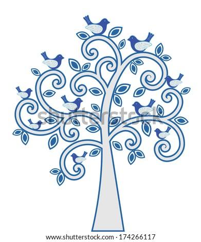 Birds in a tree - stock vector