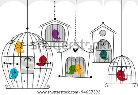 Birds in Cages Illustration - stock vector