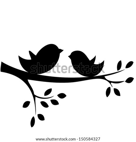 Birds on tree branch Stock Photos, Illustrations, and Vector Art