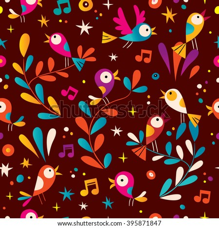 birds nature seamless pattern - stock vector