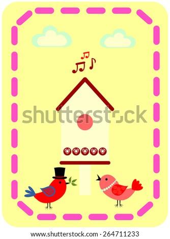birds near the birdhouse - stock vector