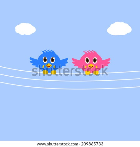 birds on a telephone cable - stock vector