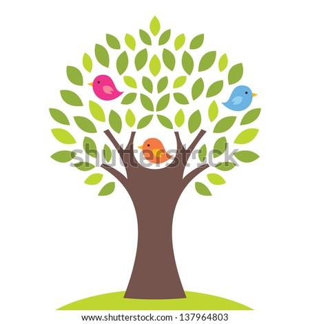 Birds on a tree, vector illustration - stock vector