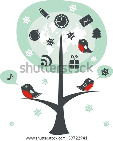 birds on a tree with xmas icons - stock vector