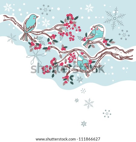 birds on a winter tree - stock vector