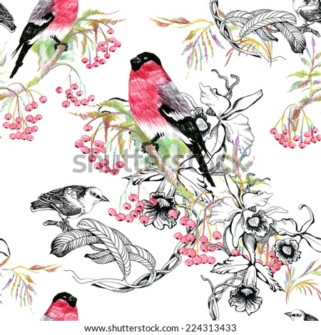 Birds on branch seamless pattern on white background vector illustration - stock vector