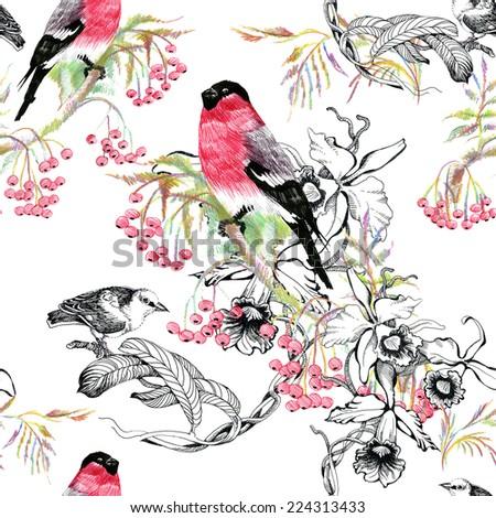 Birds on branch seamless pattern on white background vector illustration - stock vector