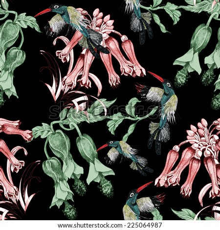 Birds on branch with flowers seamless pattern on black background vector illustration - stock vector