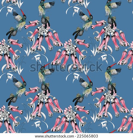Birds on branch with flowers seamless pattern on blue background vector illustration - stock vector