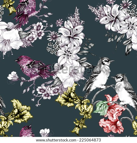 Birds on branch with flowers seamless pattern on dark green background vector illustration - stock vector