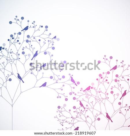 Birds on the tree. Retro style - stock vector