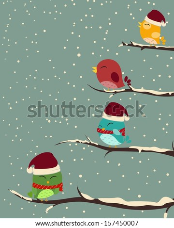 Birds on trees. winter scene  - stock vector