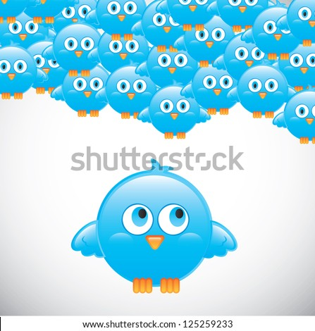 Birds over white background vector illustration Follow me - stock vector