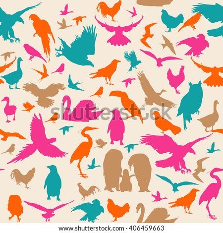 Birds seamless pattern cartoon colorful with stork, goose, swan, duck, hawk, eagle,crane, seagull, swallow, sparrow, dove, owl, raven, parrot, canary, rooster, toucan - stock vector