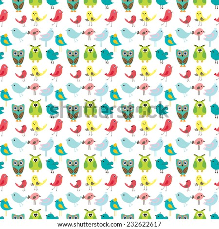 Birds seamless pattern, colorful texture on white background. Vector illustration for design of gift packs, wrap,  patterns fabric, wallpaper, web sites and other. - stock vector