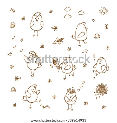 Birds set. Hand drawn doodles cute fluffy chicks - vector illustration  - stock vector