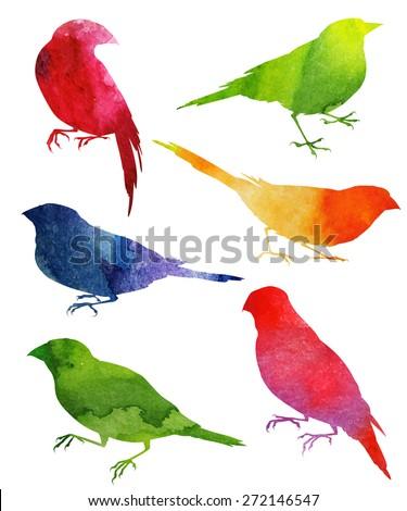 Birds Silhouette. watercolor illustration - stock vector