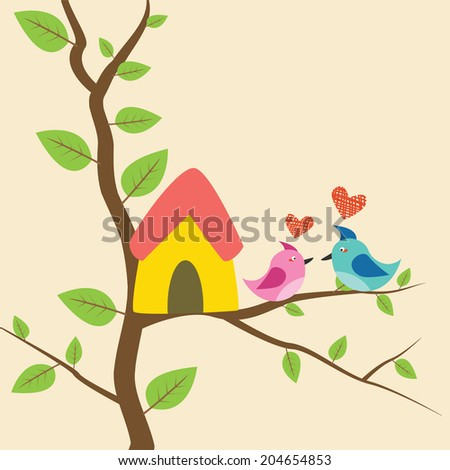 birds sitting on branches and birdhouses - stock vector