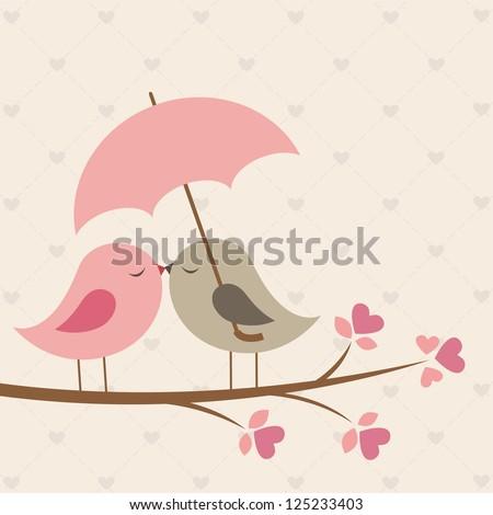 Birds under umbrella. Romantic vector card - stock vector