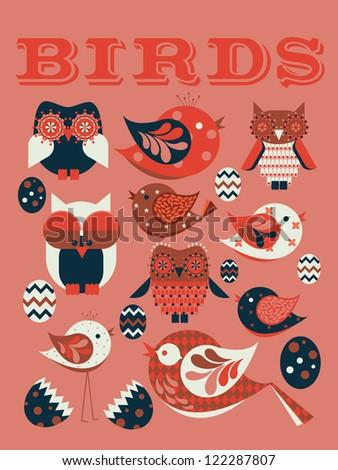 birds vector/illustration - stock vector