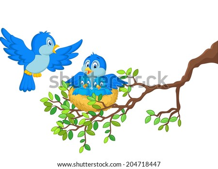 Birds with her two babies in the nest - stock vector