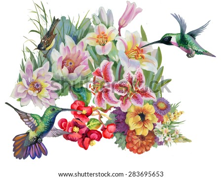Birds with watercolor garden flowers pattern on white background vector illustration - stock vector