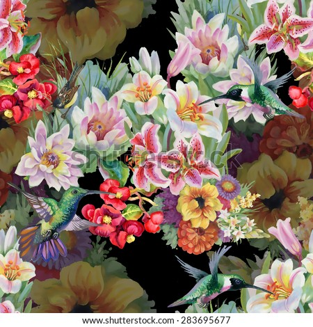 Birds with watercolor garden flowers seamless pattern on black background vector illustration - stock vector