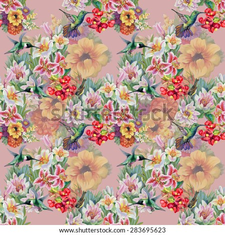 Birds with watercolor garden flowers seamless pattern on pink background vector illustration - stock vector