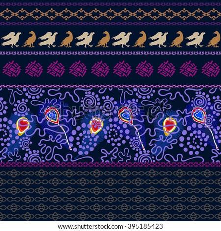 Birds world. Bohemian seamless pattern. Aboriginal arts motifs. Peacock feathers, birds, hand drawn fantasy floral doodle prints, geometric borders. Boho textile collection. Dark blue, purple, golden. - stock vector
