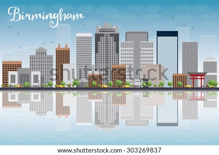 Birmingham (Alabama) Skyline with Grey Buildings, Blue Sky and reflection. Vector Illustration. Business travel and tourism concept with place for text. Image for presentation, banner and web site - stock vector