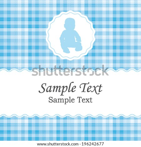 Birth announcement or baby shower vector invitation card for a newborn boy. Beautiful white and blue gingham fabric pattern. - stock vector