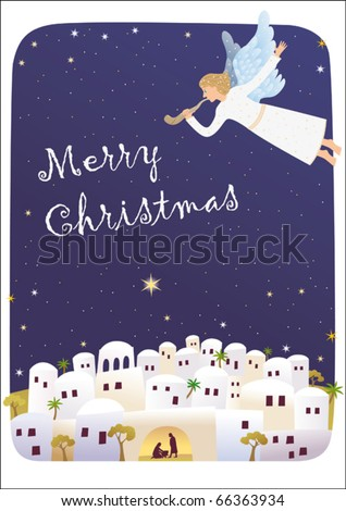 Birth of Jesus. Angel is blowing the shofar announcing good news. - stock vector