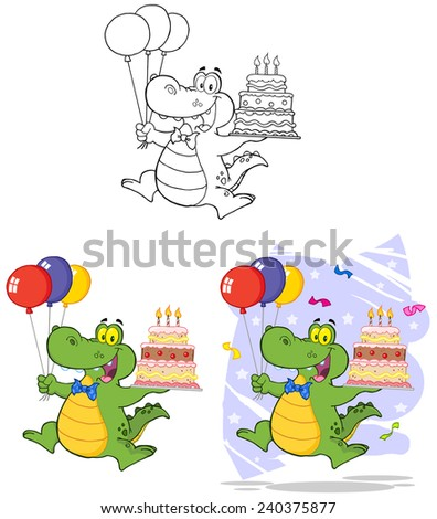 Birthday Alligator Holding Up A Birthday Cake. Vector Collection Set - stock vector