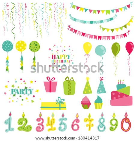 Birthday and Party Set - for photobooth, scrapbook, design - in vector - stock vector