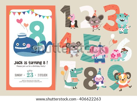 Birthday Anniversary Numbers with Cute Animals & Birthday Party Invitation Card Template - stock vector