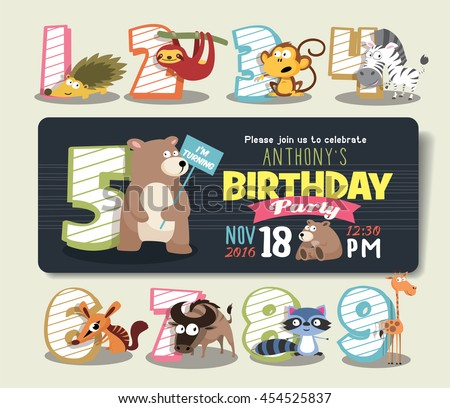 Birthday Anniversary Numbers with Funny Animal Character & Birthday Party Invitation Card Template - stock vector