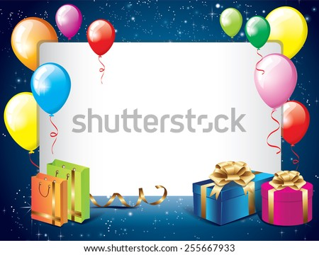 Birthday background with balloons and gifts - stock vector