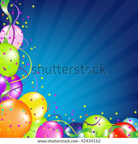 Birthday Background With Balloons And Sunburst, Vector Illustration - stock vector