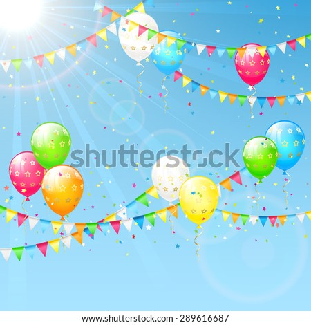 Birthday background with colorful  balloons, confetti and pennants, illustration. - stock vector