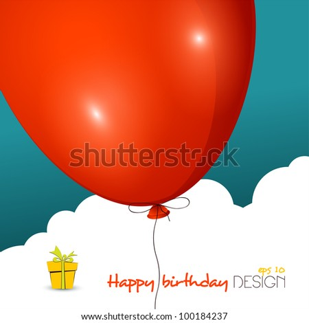 Birthday balloon design template - stock vector