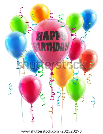 Birthday balloons illustration of a group of party balloons one with the message happy birthday - stock vector