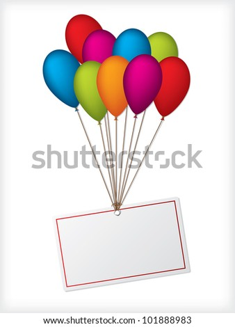 Birthday balloons with editable white label on white background - stock vector