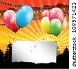 Birthday balloons with sunset and place for your text - stock vector