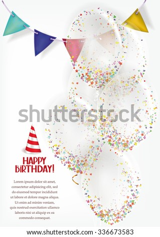 Birthday banner with transparent air balloons and garland - stock vector