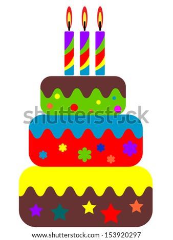 Birthday cake.  - stock vector