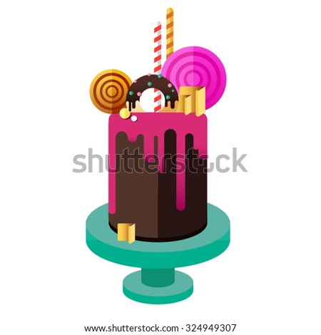 Birthday cake. Flat icon of colorul marzipan cake with lollipop, candy, licorice stick, chocolate, glaze, donut. Modern hipster dessert - stock vector